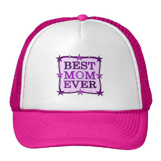 BEST MOM EVER Purple Typography Quote Text Trucker Hat