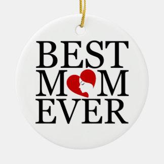 Best mom ever round ceramic decoration