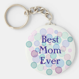 Best Mom Ever Watercolor Paint Bubbles Pattern Key Ring