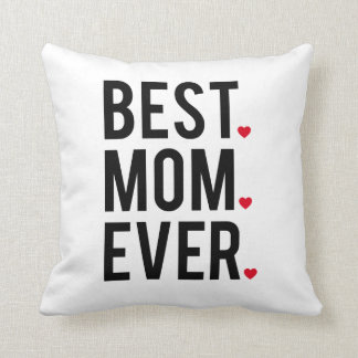 best mom ever, word art, text design, red hearts cushion
