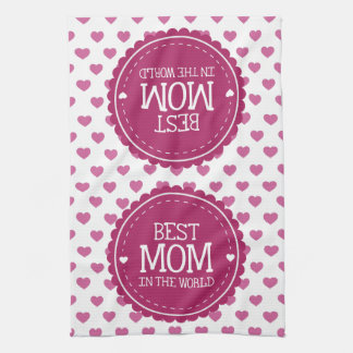 Best Mom in the World Pink Hearts and Circle Towels