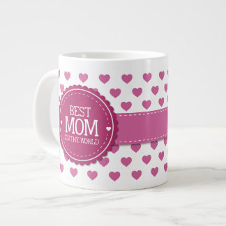 Best Mom in the World Pink Hearts and Circle v2 20 Oz Large Ceramic Coffee Mug