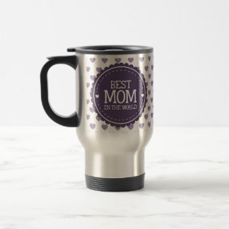Best Mom in the World Violet Hearts and Circle Stainless Steel Travel Mug