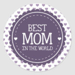 Best Mom in the World Violet Hearts and Circle Sticker