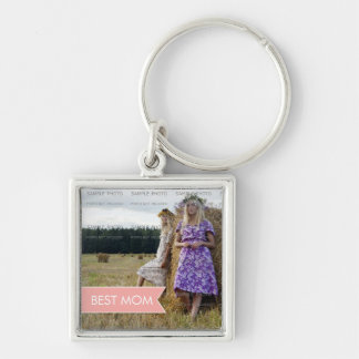 Best Mom Mothers Day White Pink Banner Photo Silver-Colored Square Key Ring