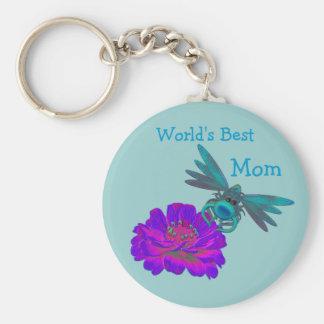 Best Mom Whimsical Dragonfly Flower Keychain