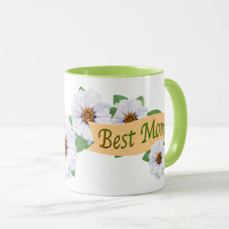 Best Mom White Zinnias Mother's Day Award Mug