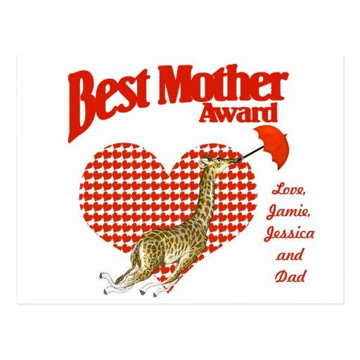 Best Mother Award Keepsake Post Card