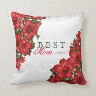Best Mother Ever Red Lily Flowers Cushion