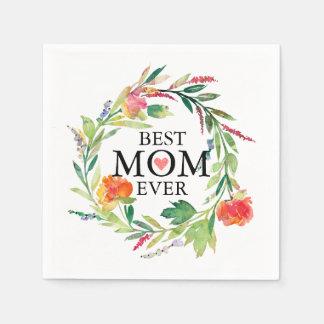 Best Mum Ever-Colourful Flowers Wreath Paper Napkin