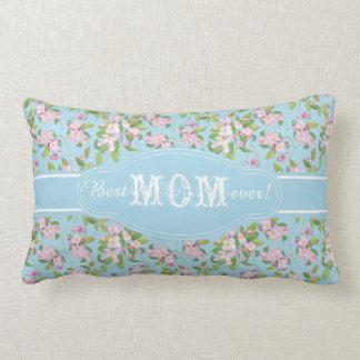 Best Mum Ever Pink Apple Blossom on Blue Pattern Lumbar Pillow