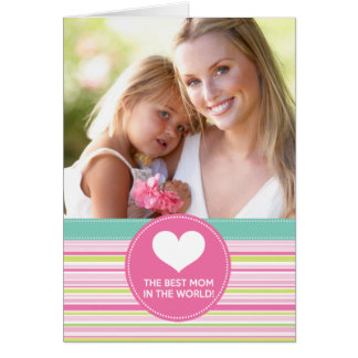 Best Mum in the World Fashion Colourful Stripes Cards