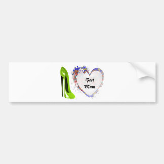 Best Mum Lime Green Stiletto Shoe and Floral Heart Bumper Stickers