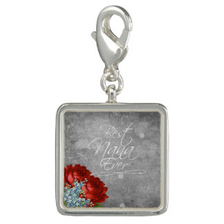 Best Nana Ever. Square Charm, Silver plated