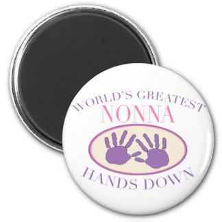 Best Nonna Hands Down T-shirt 6 Cm Round Magnet