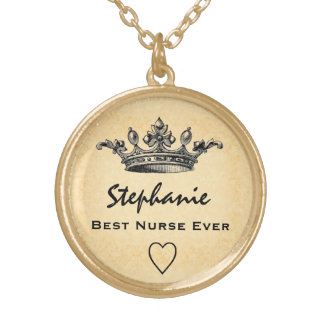 Best Nurse Ever Crown Custom Name Gift V07 Gold Plated Necklace
