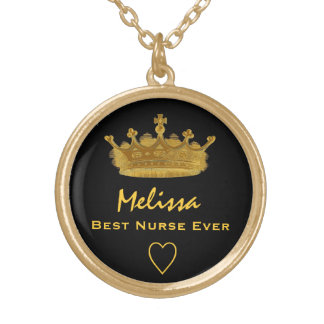 Best Nurse Ever Gold Crown Custom Name Gift V08 Gold Plated Necklace
