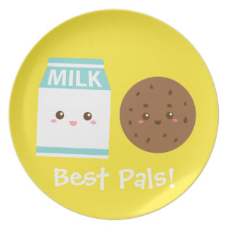 Best Pals, Cute Milk and Cookies Party Plate