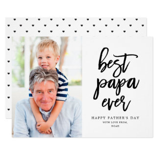 Best Papa Ever | Black On White Card
