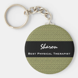 Best PHYSICAL THERAPIST Clay Square Pattern Basic Round Button Key Ring