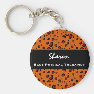 Best Physical Therapist Custom Orange Leopard Gift Basic Round Button Key Ring