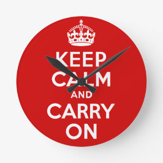 Best Price Authentic Keep Calm And Carry On Red Wallclock