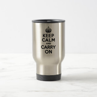 Best Price Keep Calm And Carry On Black 15 Oz Stainless Steel Travel Mug