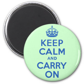 Best Price Keep Calm And Carry On Blue and Green 6 Cm Round Magnet