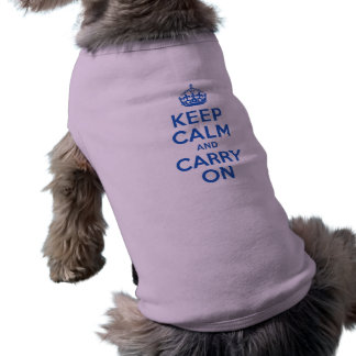 Best Price Keep Calm And Carry On Blue Doggie T-shirt