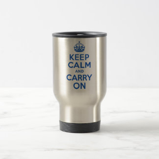 Best Price Keep Calm And Carry On Blue 15 Oz Stainless Steel Travel Mug
