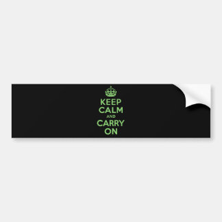 Best Price Keep Calm And Carry On Green Bumper Sticker