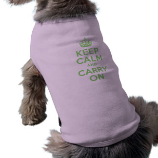 Best Price Keep Calm And Carry On Green Dog T Shirt