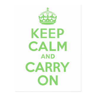 Best Price Keep Calm And Carry On Green Postcard