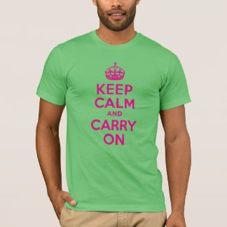 Best Price Keep Calm And Carry On Hot Pink Custom T-Shirt