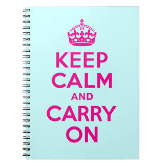 Best Price Keep Calm And Carry On Hot Pink & Teal Note Book