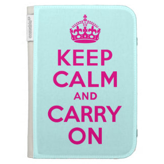Best Price Keep Calm And Carry On Pink and Teal Kindle Cover