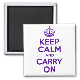 Best Price Keep Calm And Carry On Purple and White Square Magnet
