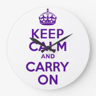Best Price Keep Calm And Carry On Purple Custom Round Clocks
