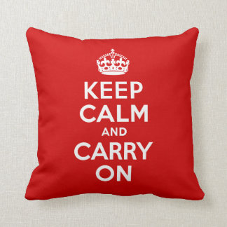 Best Price Keep Calm and Carry On Red & White Throw Cushions