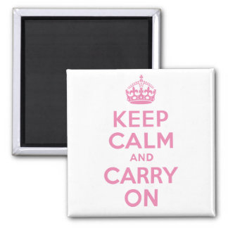 Best Price Pink Keep Calm And Carry On Square Magnet
