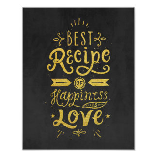 Best Recipe of Happiness Black & Faux Gold Foil Poster