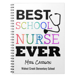 Best School Nurse Ever Personalized Typography Note Books