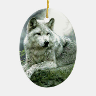 Best Selling Imaginative Wolf Art Illustration Pai Ceramic Oval Decoration