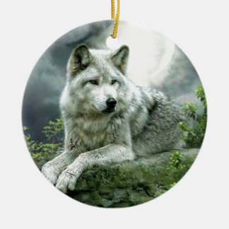 Best Selling Imaginative Wolf Art Illustration Pai Round Ceramic Decoration