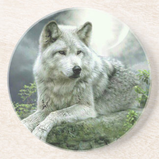 Best Selling Imaginative Wolf Art Illustration Pai Sandstone Coaster