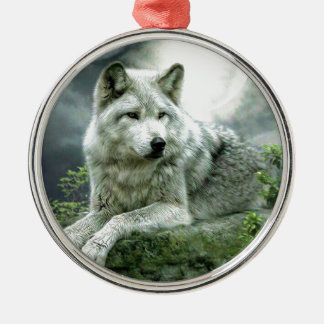 Best Selling Imaginative Wolf Art Illustration Pai Silver-Colored Round Decoration