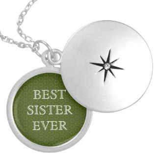 Best Sister Ever Green Stars and White W1626 Silver Plated Necklace