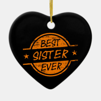 Best Sister Ever Orange Christmas Ornament