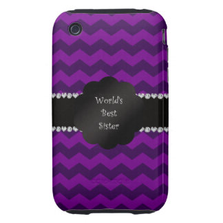 Best sister ever purple chevrons iPhone 3 tough cover