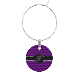 Best sister ever purple chevrons wine charm